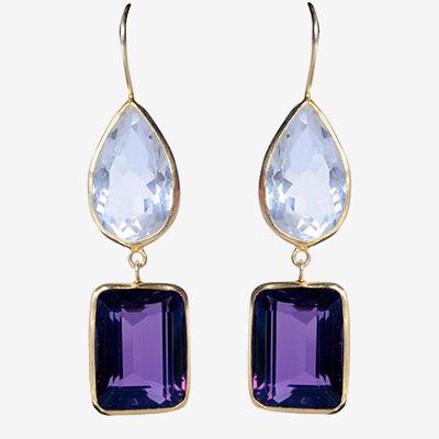 Paire de boucles d'oreilles pendantes double en argent et métal doré, ornée d'améthyste et de cristal de roche.