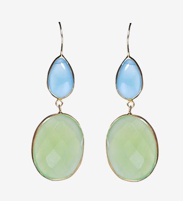Paire de boucles d'oreilles pendantes double en argent et métal doré, ornée de calcédoine bleue et verte