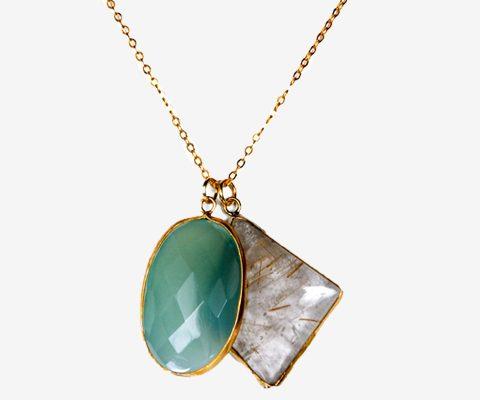 Pendentif  en métal doré composé de pierres fines : labradorite et onyx vert